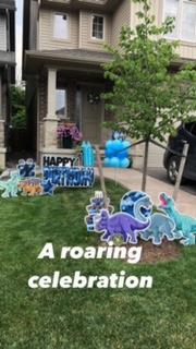 Dinosaur Lawn Sign set up