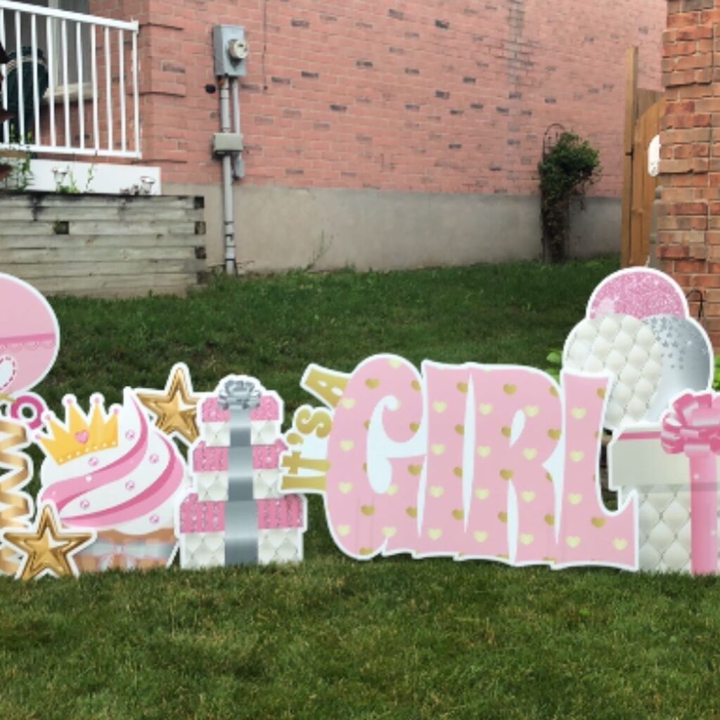 Welcome Baby Girl Lawn Sign setup