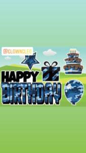 Happy Birthday Lawn Sign set Blue Camo