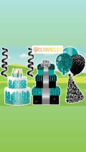 Birthday Lawn Sign Teal cake set